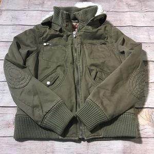 Mossimo Military Inspired Moto Bomber Jacket Large